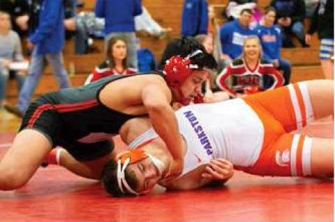 Tony Bruguier with the pin for one of the big wins of the day  .
