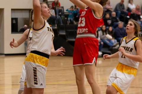Abby Brunsing goes up to add 2 points to the scoreboard.