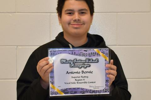 Antonio Bernie received a Superior Rating at the Vocal Contest in Kimball on February 5th. Courtesy Photo