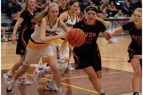 Lexie VanderPol quickly chases the rebound against a tough Avon defense  . Photo by Barb Pechous