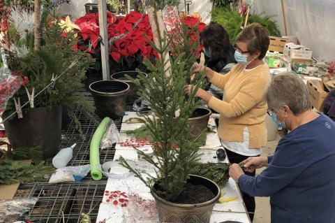 HOLIDAY WREATHS AND POTS BEING CREATED AT THE FLOWER SHOP