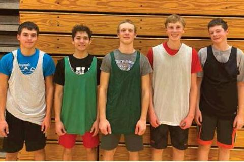FIVE BOYS BASKETBALL PLAYERS REACH THEIR GOAL